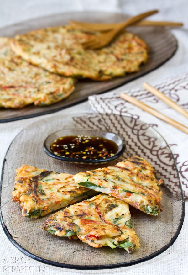 Korean Vegetable Pancakes - Pajun (Pajeon) with Spicy Soy Dipping Sauce.
