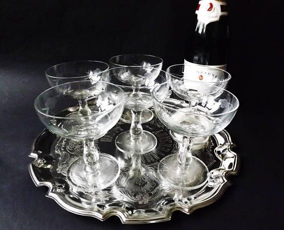 6 Etched #Champagne #Coupes Crystal #Prosecco Saucers #Wedding