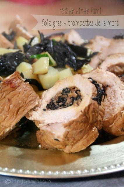 Rôti de dinde farci au foie gras et champignons