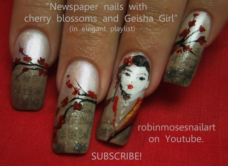 Vintage Newspaper Nails - Geisha & Cherry Blossoms (by Robin Moses)