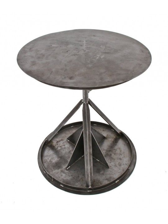 Unusual All Custom Built C. Vintage American Industrial Brushed Steel Adjustable  Height Workstation Or Repurposed Pub Table With A Revolving Top