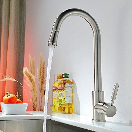 VAPSINT® Modern Pull Down Single Lever Swivel Spout Monobloc Chrome Pull Out Mixer Spray Kitchen Sink Taps,High Arch Stainless Steel Sink Tap: Amazon.co.uk: Kitchen & Home
