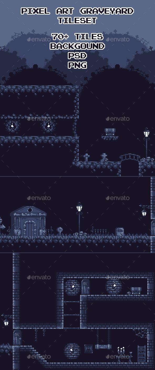 Graveyard Pixel Art Tileset - Tilesets #Game Assets