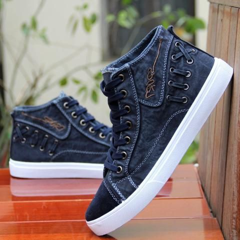 9cb7930f2b42b3 British Style Fashion Vintage Denim Jean Canvas Shoes Men High-top Casual  Man Ankle Boots Flat Shoes Usual School Boy Footwear From Touchy Style  Outfit ...