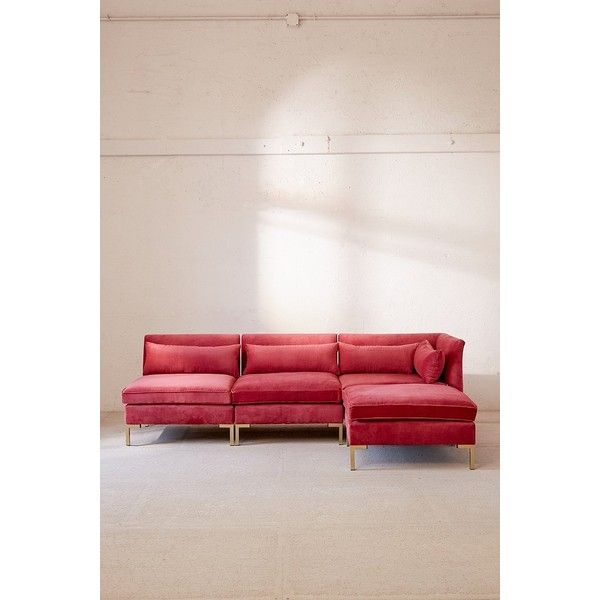 Cecilia Velvet Sectional Sofa ($1,898) ❤ liked on Polyvore featuring home, furniture, sofas, velvet sofa, urban outfitters furniture, urban outfitters, velvet sectional and velvet furniture