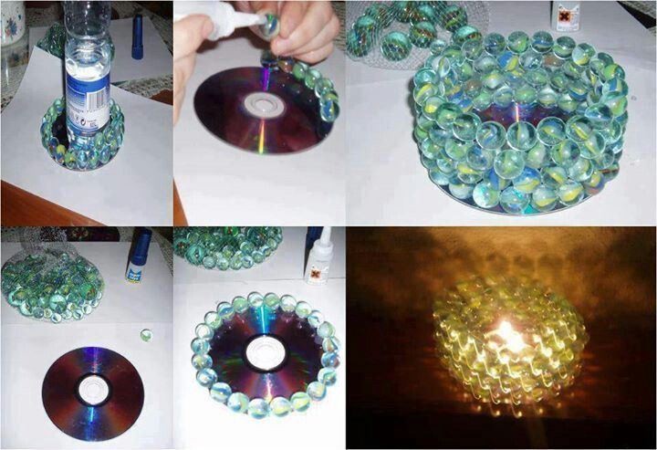 DIY candle holder made out of a CD and marbles
