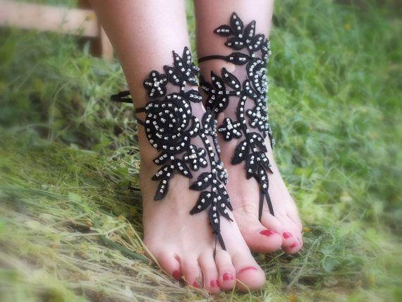 SANDALS // Black Rose beach shoes bridal by Theworldofbrides, $39.00