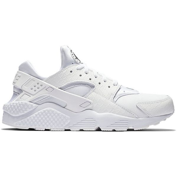Nike Air Huarache Run PRM ($110) ❤ liked on Polyvore featuring men's fashion, men's shoes, athletic shoes, shoeclub, black and white mens shoes, nike mens shoes and mens white shoes