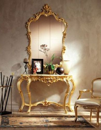 Nice Antique Console Tables And Wall Mirrors With Golden Finish Design Ideas