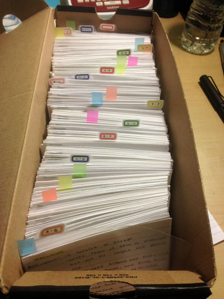 My magical box of alphabetized medical flash cards. Each card has the description, signs/symptoms, differentials diagnosis, and treatment for different pathologies and injuries that I needed to know for my EMT certification.
