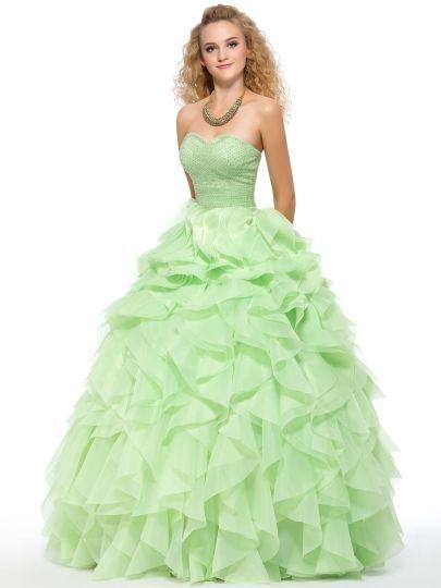 Pure Color A-line Sweetheart Neckline Floor-Length Quinceanera Dress