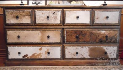 Holy Cow-hide! A dresser make-over.:    http://www.thevspotblog.com/2011/02/holy-cow-cowhide-dresser-make-over.html#  cowhide, dresser, dresser re-do, studded dresser