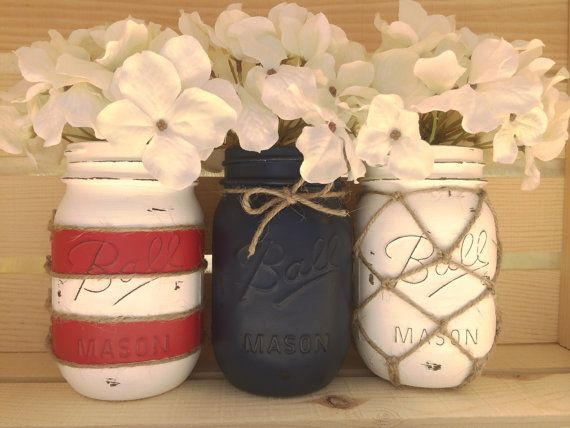 Set of 3 hand painted mason jars nautical by MidnightOwlCandleCo