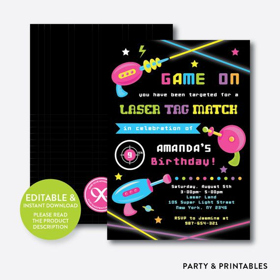 Instand Download Editable Laser Tag Birthday Invitation