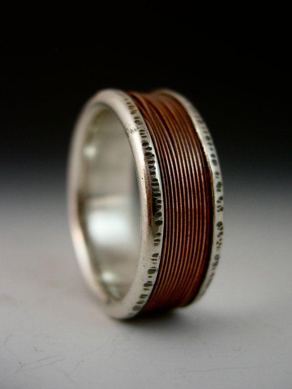 Cet anneau sera fait à la main pour vous ! Cette bague est entièrement fabriqués à la main de feuille en argent sterling et fil de cuivre. Un mince