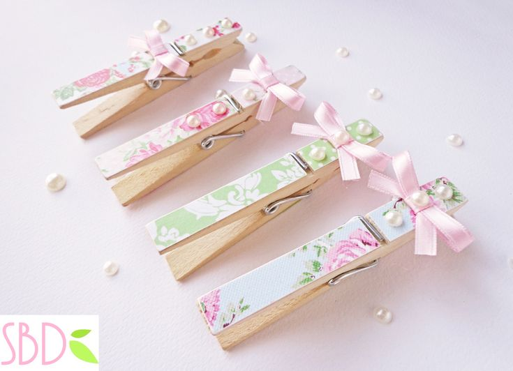 Mollette decorate Shabby - Shabby Clothespins Decoration by Sweetbiodesign