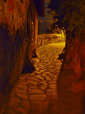 Evening Stroll in Greece - Artistic rendering of an alley in Ano Poli, Thessaloniki, Greece. From a distance it looks like a photograph. Up close it looks like an oil painting. Prints of this photo available for $22 and up. Greeting cards with this photo available for $2 and up.