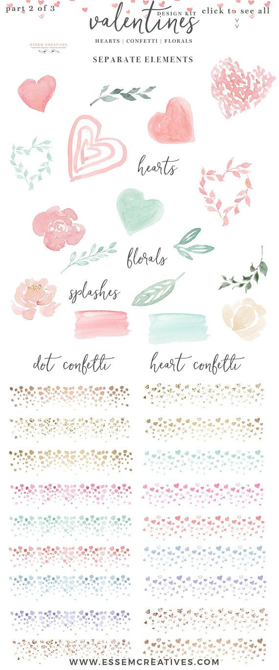 Watercolor Valentines Day Card Clipart Heart Clipart Rose Gold