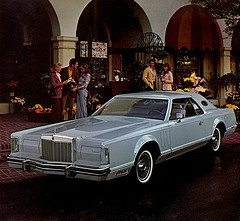 1976 Lincoln Mark V.  Loved my land yacht.  Got it cheap and it rode like a limousine.  Dad had the '76 Ford LTD, another beauty.