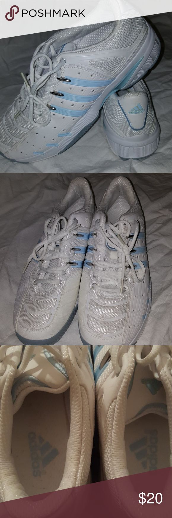 Adidas Sneakers Adidas Sneakers for walking or cross training. Worn only once and were too small for me!! Basically new and need someone to use them in 2018!! Kick off the New Year with new sneaks!! Very cushioned and have light blue accents. adidas Shoes Athletic Shoes