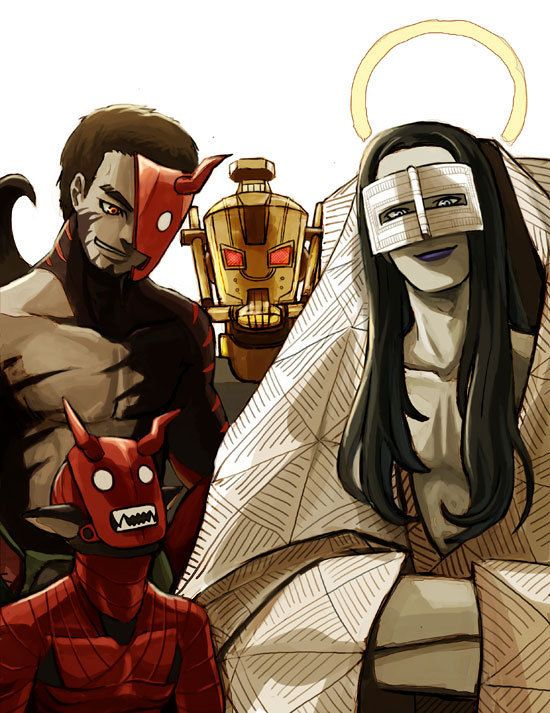 Fan art of Shin Megami Tensei: Strange Journey featuring the protagonist, Jimenez, Bugaboo, and Mastema.