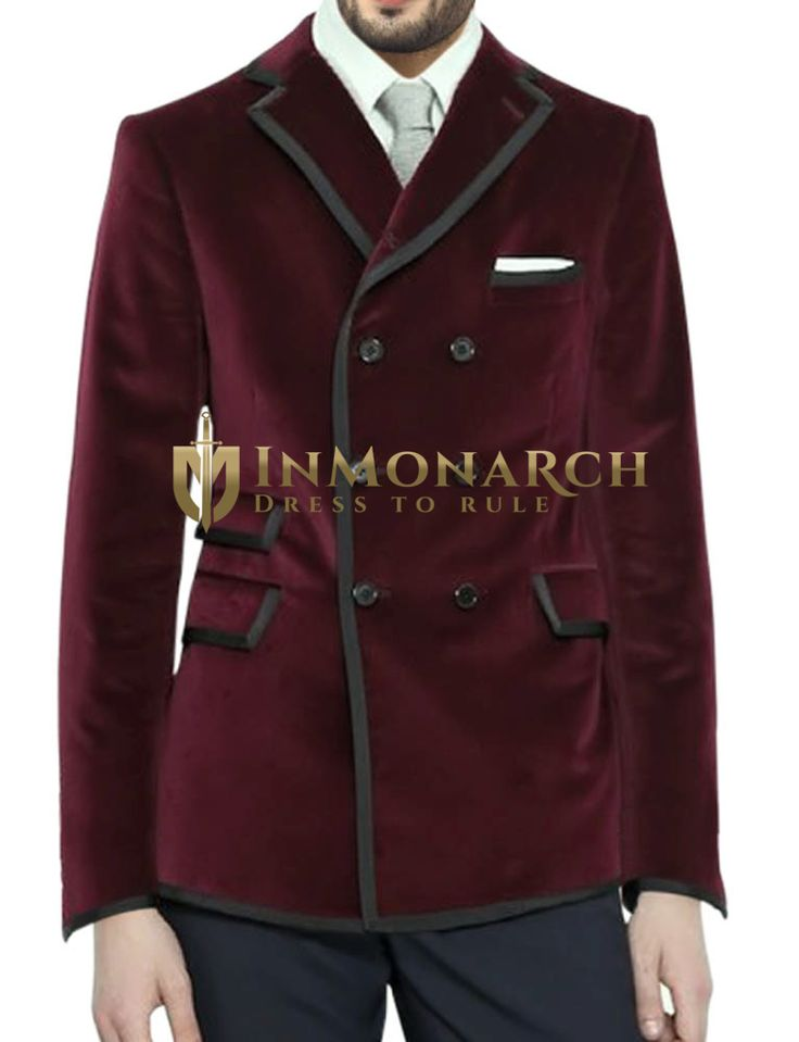 Mens Burgundy Velvet Blazer Double Breasted