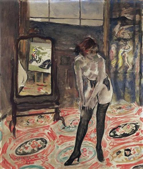 Young girl in black stockings, István Csók. Hungarian (1857 - 1902)