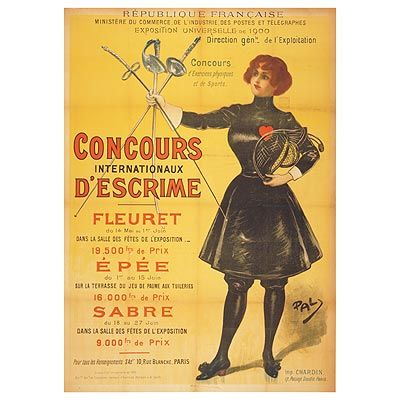 Several posters were created-athletics, rowing, cycling, fencing and gymnastics. A Paris 1900 Poster