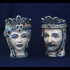 Teste Re e Regina  in ceramica www.ceramicheripullo.com Ceramiche Ripullo