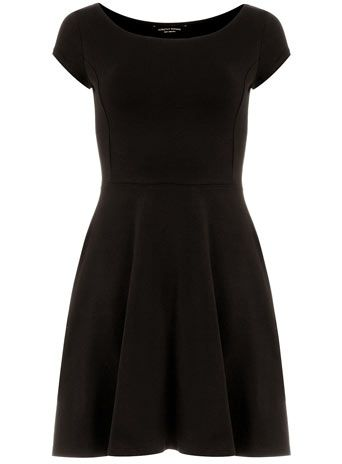 Black bardot dress -- will brighten this up with colorful accessorieses