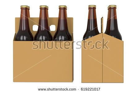 Six brown beer bottles in cardboard boxk. Side view and front view. 3D render, isolated on white background.