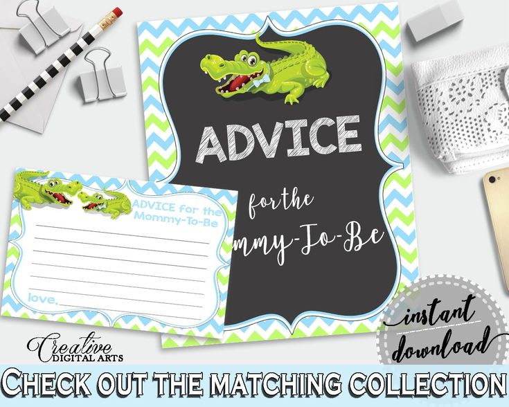 ADVICE FOR THE MOMMY TO BE and ADVICE FOR THE NEW PARENTS baby shower activities with green alligator and blue color theme, instant download - ap002 baby shower baby shower party newborn mommy to be Alligator