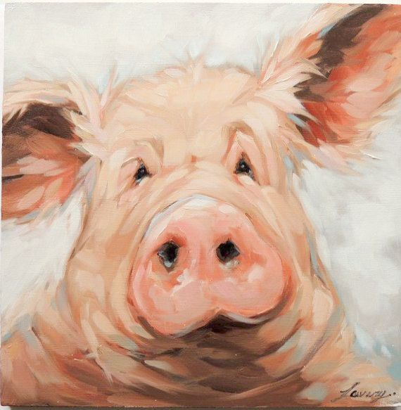 Pig Portrait Painting 8x8 inch original impressionistic oil painting