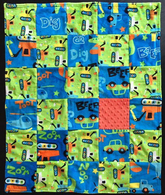 Baby boy blanket baby boy quilt Minky by PeggyGaylerDesigns