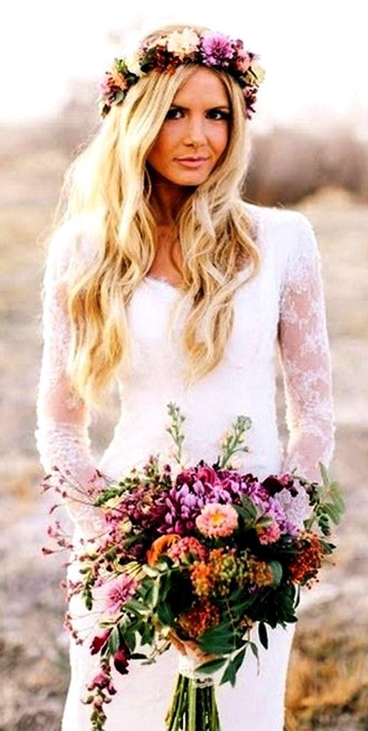 Beach bride's long down bridal hair ideas Toni Kami Wedding Hairstyles ♥ ❶ Flower crown corona halo lovely lace wedding gown dress