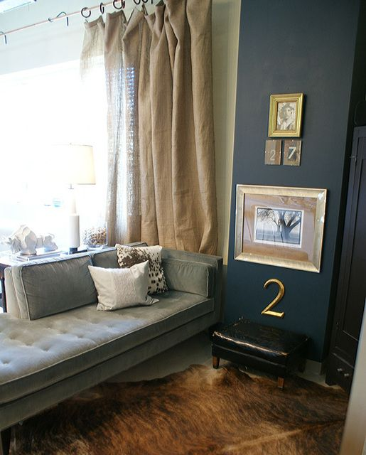 Curtains curtains curtains... linen? Burlap?...: Wall Colors, Curtains Rods, Blue Wall, Hanging Curtains, Master Bedrooms, Burlap Curtains, Dark Wall, Linens Curtains, Accent Wall