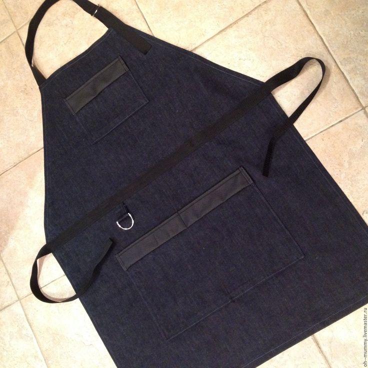 Купить Фартук мужской - тёмно-синий, фартук для кухни, фартук, передник, джинса, дача, кухня