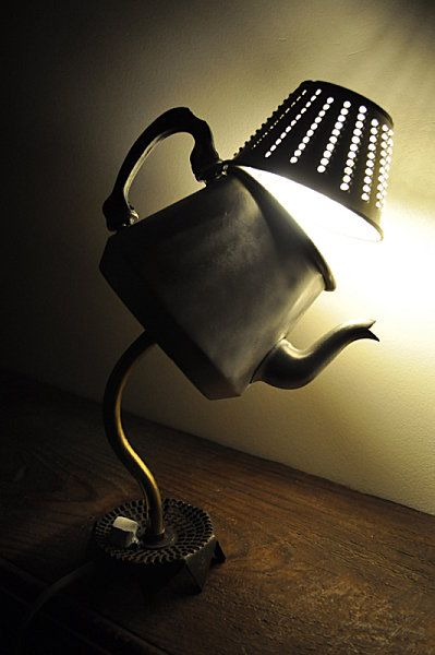 Teapot and grater lamp.