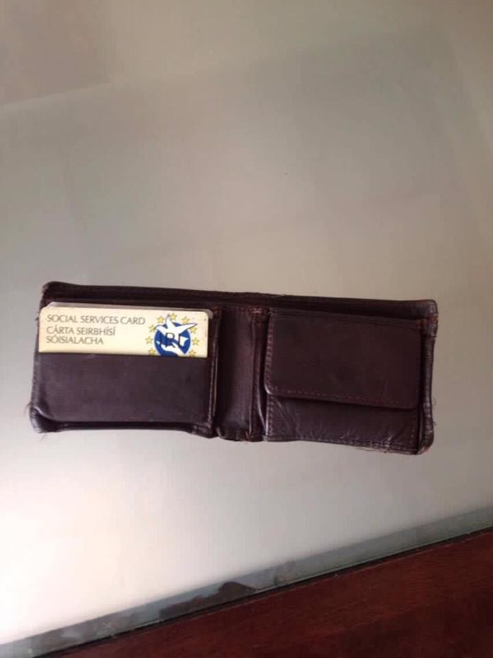 Wallet found in Dublin 12 on October 30th belonging to a Sean Morgan Kelly. This guy was in a Laurels pub on the night of October 29th as I found a receipt with it.