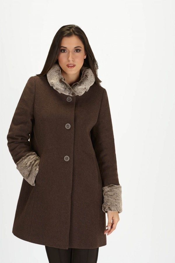 Loft Faux Fur Collar & Cuff Coat