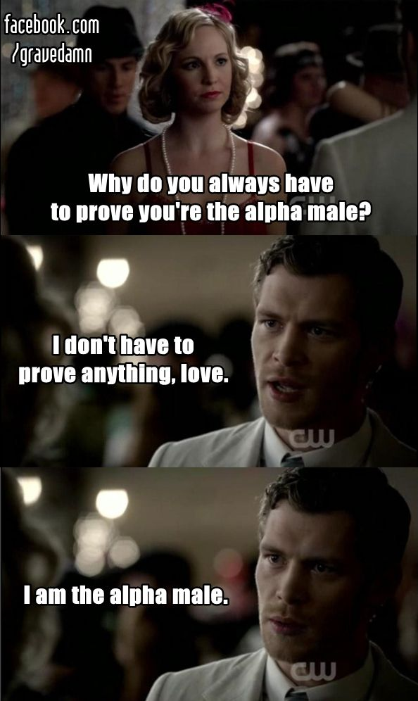 Klaus IS the alpha male! Haha The Vampire Diaries. Caroline and Klaus - TVD.