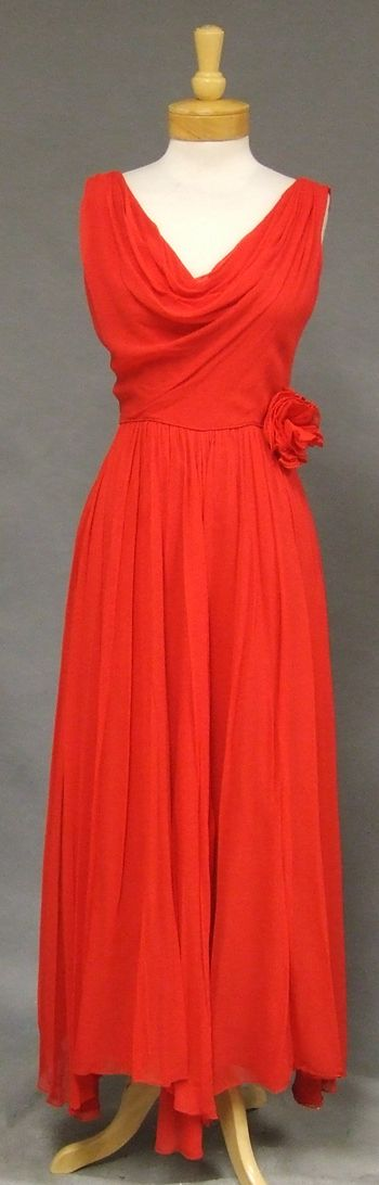 Miss Elliette Fiery Red Chiffon Vintage Evening Dress w/ Handkerchief Hem - Vintageous, LLC