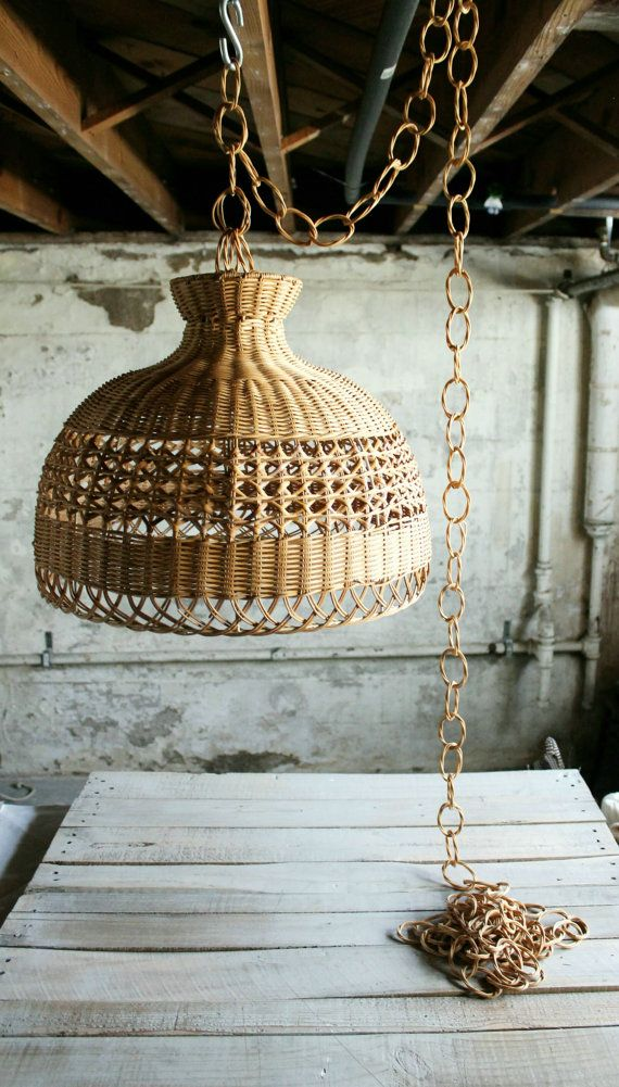 Vintage Wicker Hanging Light Shade with Chain by therhubarbstudio