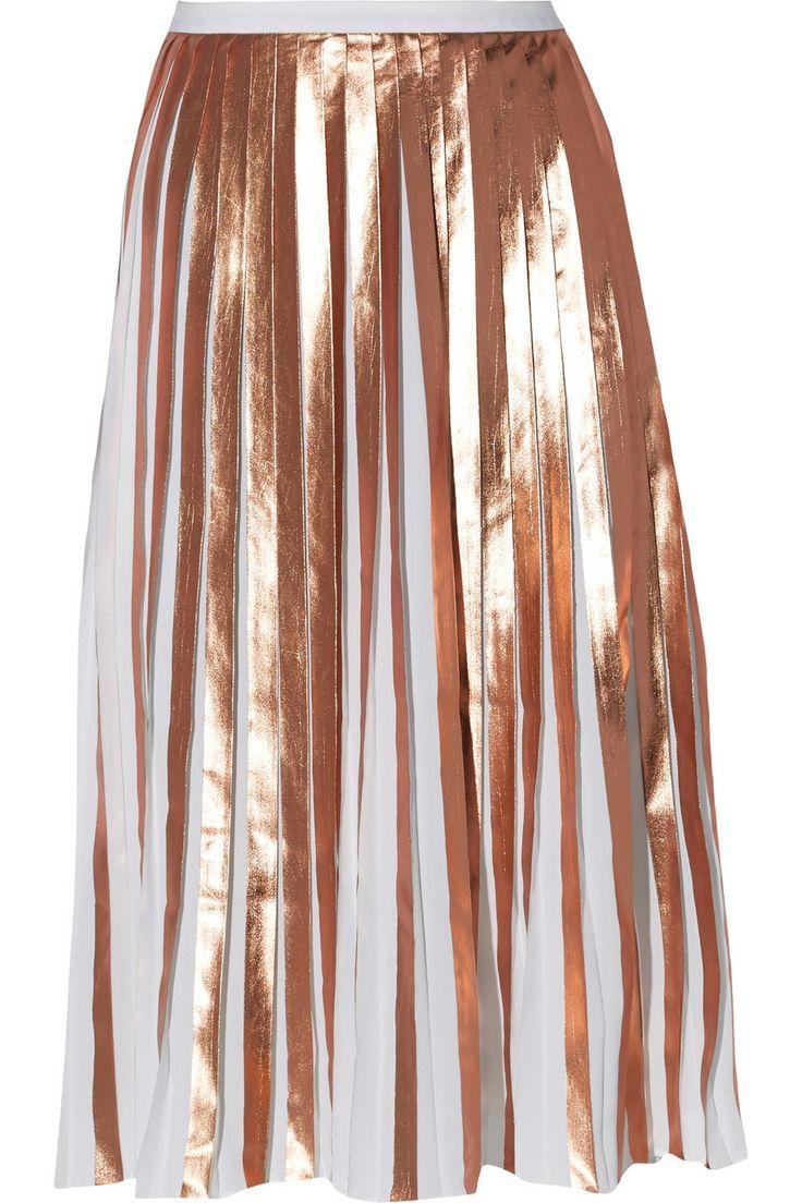 Metallic pleated coated crepe skirt   Raoul   US   THE OUTNET