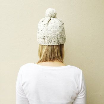Oatmeal Knit Hat with Pom Pom, Fall Winter hat, Natural Neutral hat, Rustic Warm Hand Knit Hat, Bobble hat, Made by VeraJayne, Ready to Ship