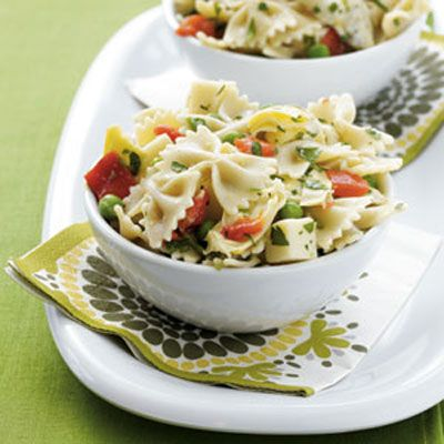 The multigrain noodles in this savory salad add a hefty dose of fiber and protein. Peas are an easy way to bump up the Resistant Starch, a healthy carb that boosts metabolism and fights fat, in any dish. Just keep a bag of frozen peas in the freezer so you can easily add them to this and other grain salads.