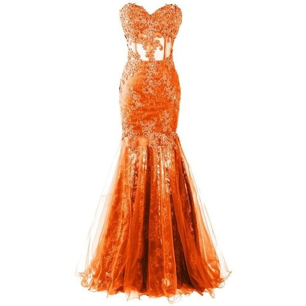 Dresstore Women's Long Mermaid Lace Prom Dress Sweetheart Sheer... ($127) ❤ liked on Polyvore featuring dresses, gowns, long lace evening dresses, sheer lace dress, long dresses, orange prom dresses and long prom gowns