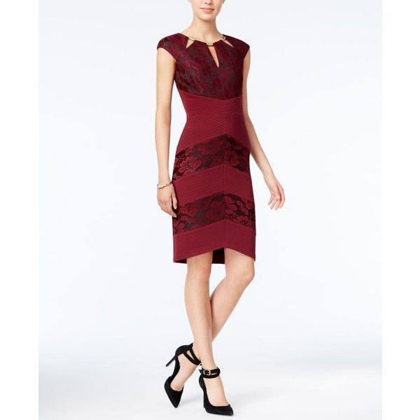 Jax Lace Bandage Sheath Dress ($118) ❤ liked on Polyvore featuring dresses, dark red, high low dresses, lace bandage dress, dark red dress, jax dresses and lace dress