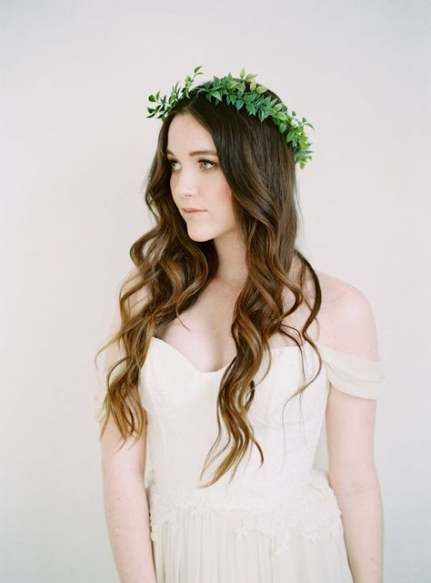 53 Super Ideas Bridal Hairstyles With Veil Loose Waves Flower Crowns