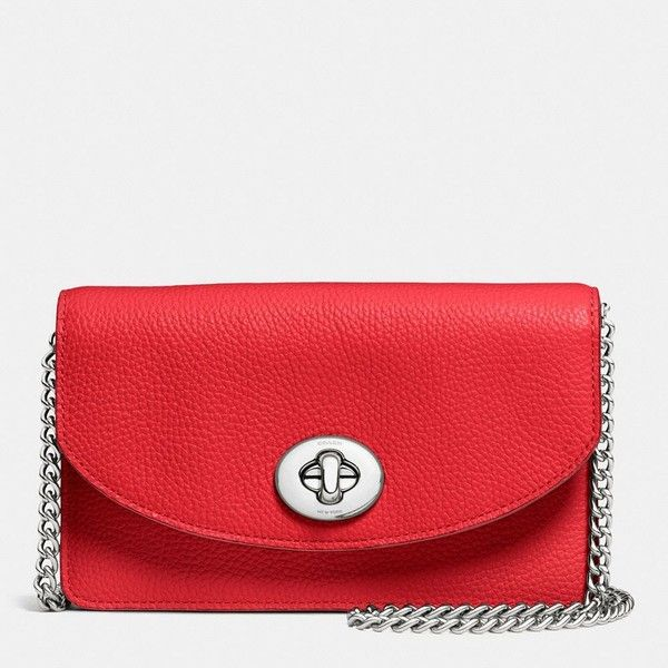 Coach Clutch Chain Wallet ($195) ❤ liked on Polyvore featuring bags, handbags, clutches, red, leather handbags, crossbody purse, red clutches, red leather purse and leather crossbody